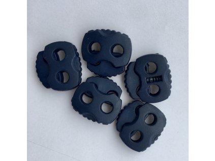 brzdička na tkanice 2 dírky prům. 4 mm tmavě modrá
