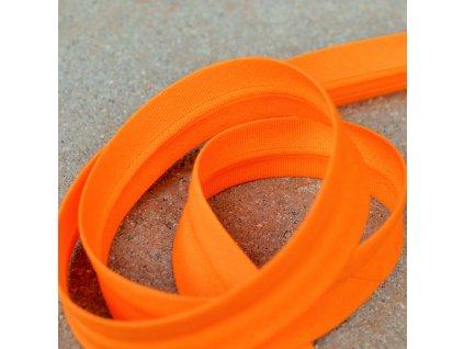 395 cm šikmý proužek zažehlený oranžový 18 mm (100% bavlna)