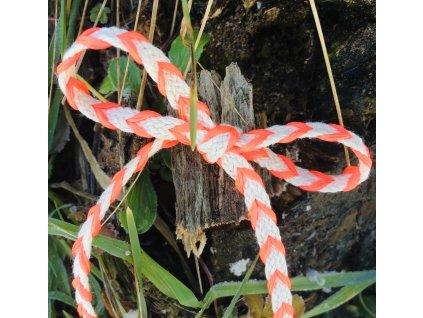 0,5 m tkanice neon oranžovorůžová proplétaná 0,5 cm