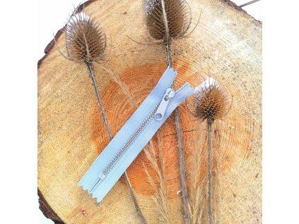 nedělitelný kovový zip YKK stříbrné zuby - 10 cm, světle šedý