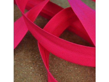 250 cm bavlněný šikmý proužek fuchsiově růžový 18 mm