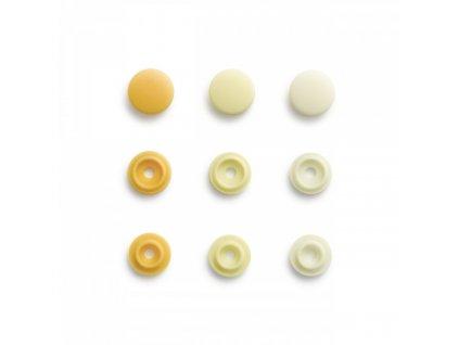 lot 36 boutons pressions color snaps mini prym jaune soleil