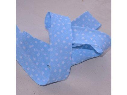 0,5 m šikmý proužek hvězdičky na modré 30 mm (polyester/bavlna)