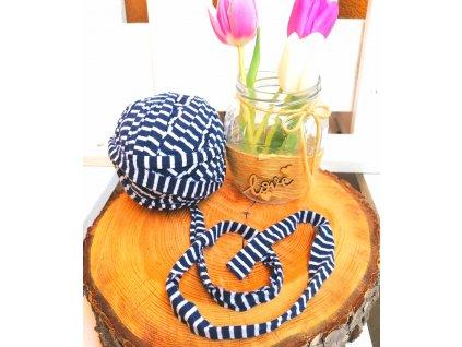 """0,5 m bavlněná tkanice - """"špagát"""", modro - bílý pruh s otřepem 30 mm"""