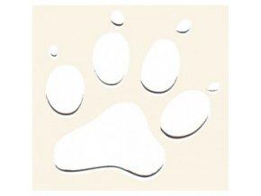3D Samolepka 10 cm tlapka - bílá