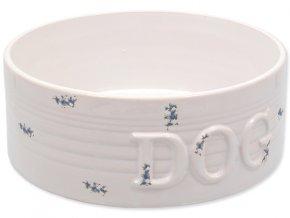Miska DOG FANTASY keramická bílá modré body 20,5 cm, 1,6l