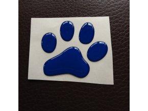 3D Samolepka 5 cm tlapka reflexní - modrá