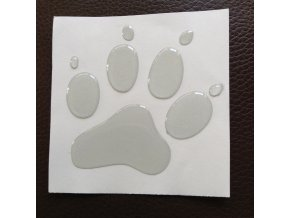 3D Samolepka 10 cm tlapka reflexní - bílá