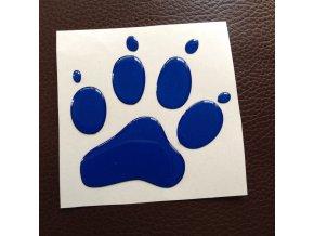 3D Samolepka 10 cm tlapka reflexní - modrá