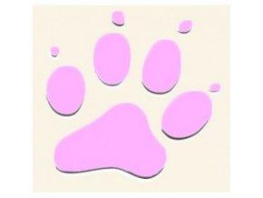 3D Samolepka 10 cm tlapka - růžová