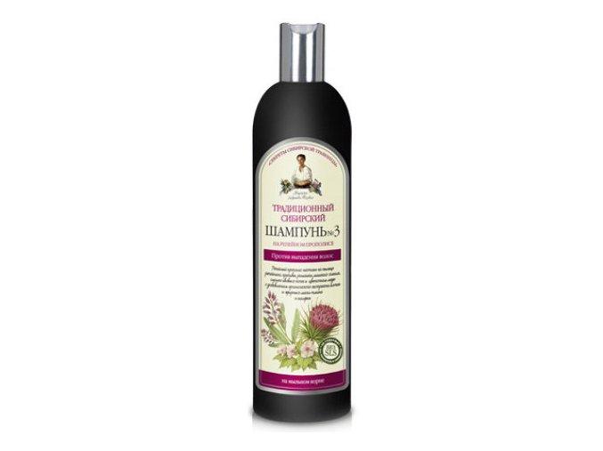"""Recepty babičky Agáty: Tradičný sibírsky šampón č. 3 - proti vypadávaniu vlasov """"Lopúchový propolis"""" 550 ml"""