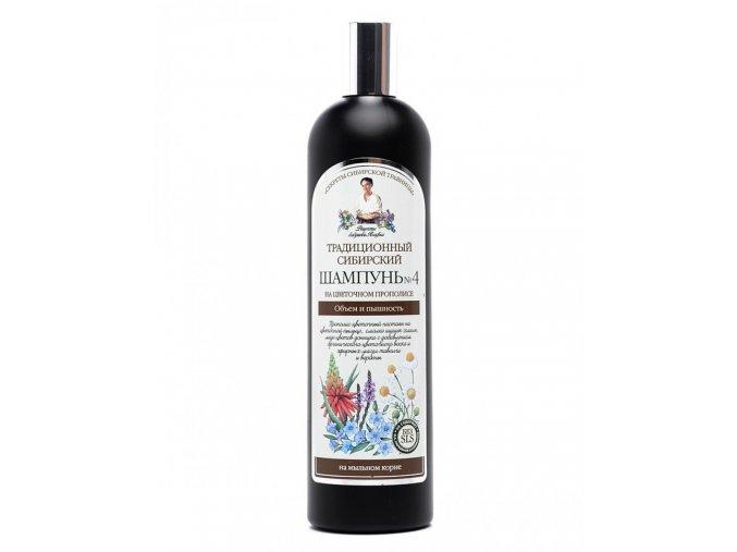 "Recepty babičky Agáty: Tradičný sibírsky šampón č. 4 - objem a lesk ""Kvetový propolis"" 550 ml"