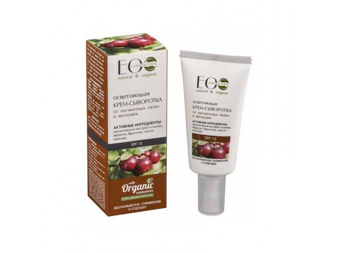 ECO LABORATORIE  natural & organic Zosvetľujúce krémové sérum na pehy a pigmentové škvrny   SPF15 50 ml