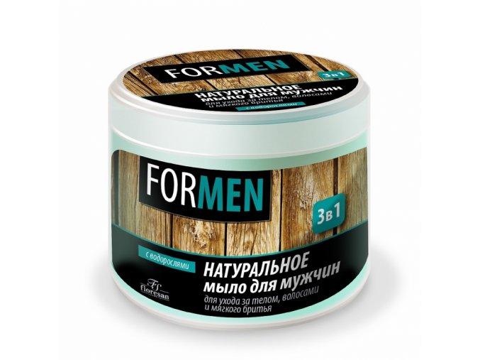 FLORESAN Prírodné mydlo s morskými riasami 3 v 1 pre mužov Starostlivosť o telo a vlasy a jemné holenie 450 ml
