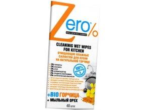 ZERO  Vlhčené čistiace obrúsky na kuchynské povrchy s bio horčicou a mydlovými orechmi 40 ks