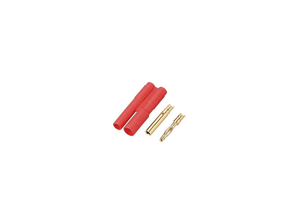 2mm zlatý konektor s domečkem (pár)