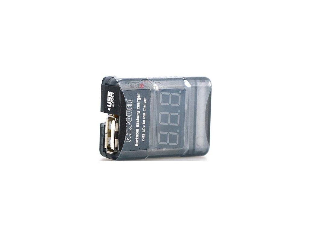 Měřič napětí článků až 6S + USB nabíječka