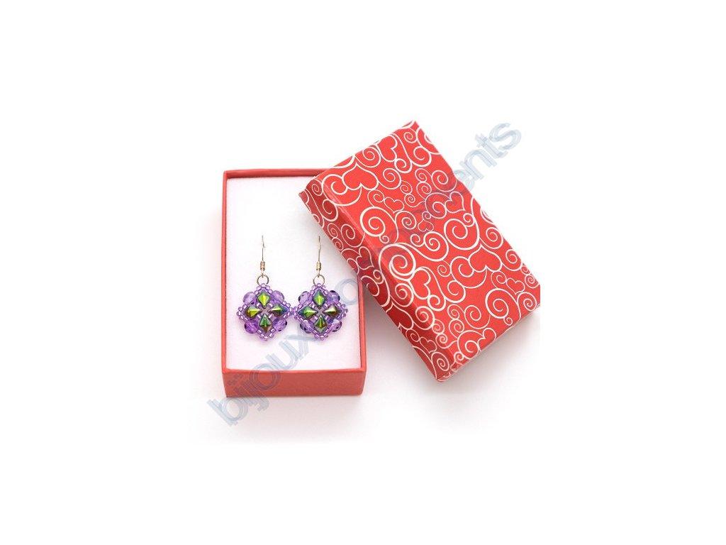 Krabička na šperky - červená/bílý potisk 50x80x27mm