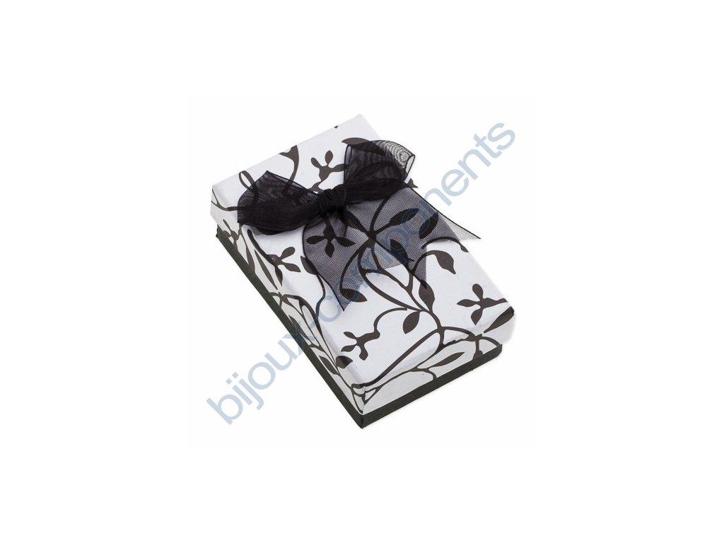 Krabička na šperky - bílá s černým vzorem a mašlí, 50x80x27mm