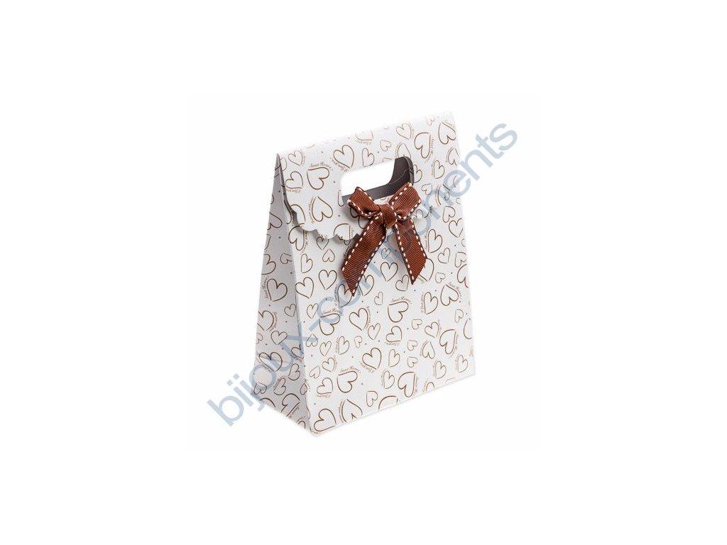 Taška na šperky - bílá se srdíčky