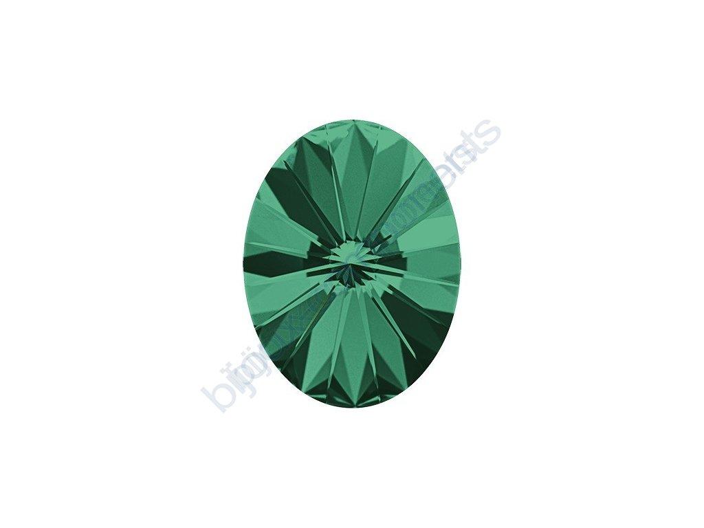 SWAROVSKI CRYSTALS kameny - Oval Rivoli Fancy Stone, emerald F, 14x10,5mm