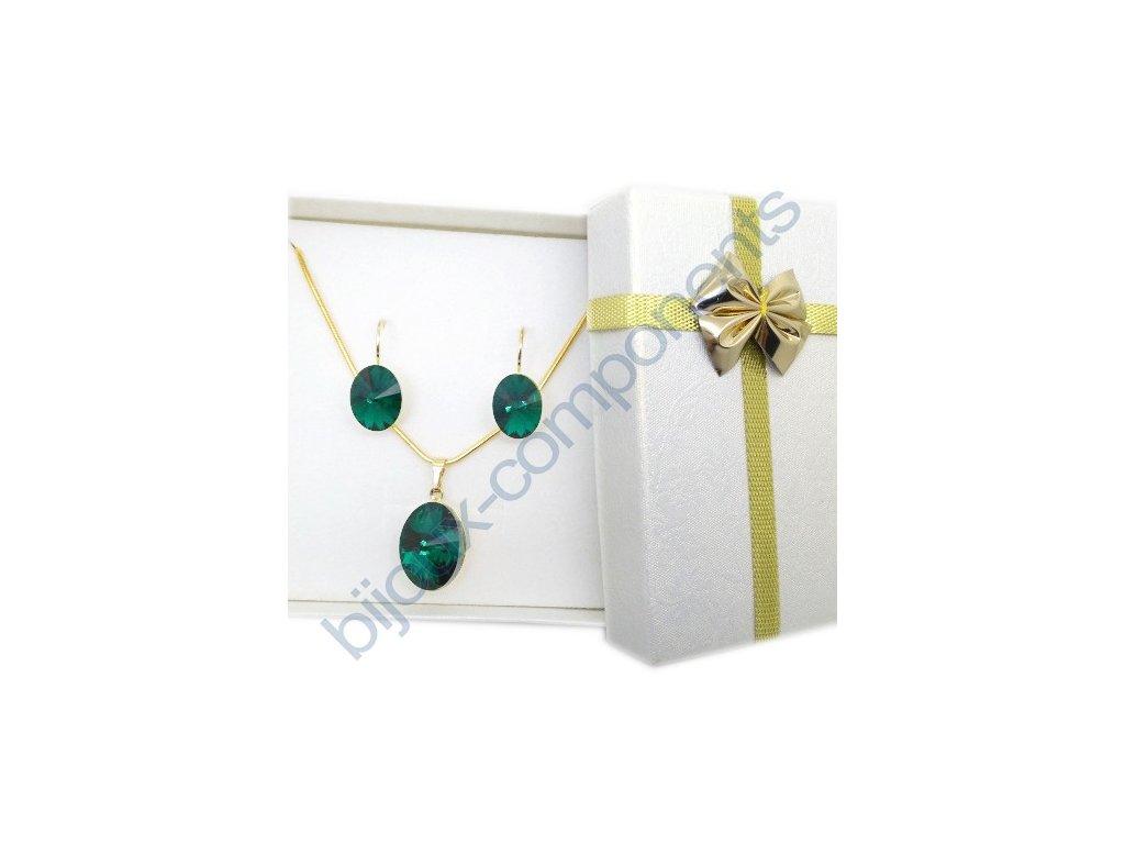 Dárková sada s kameny Swarovski Crystals, rivoli 4122, emerald / pozlacené komponenty