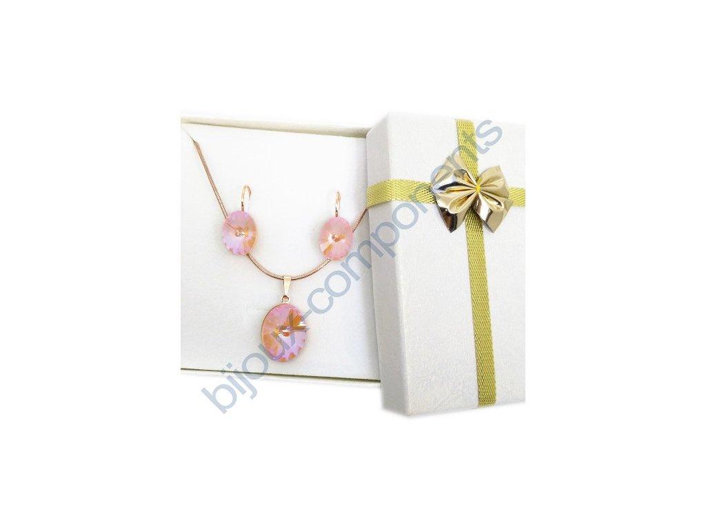 Dárková sada s kameny Swarovski Crystals, rivoli 4122, crystal peach / rose gold komponenty