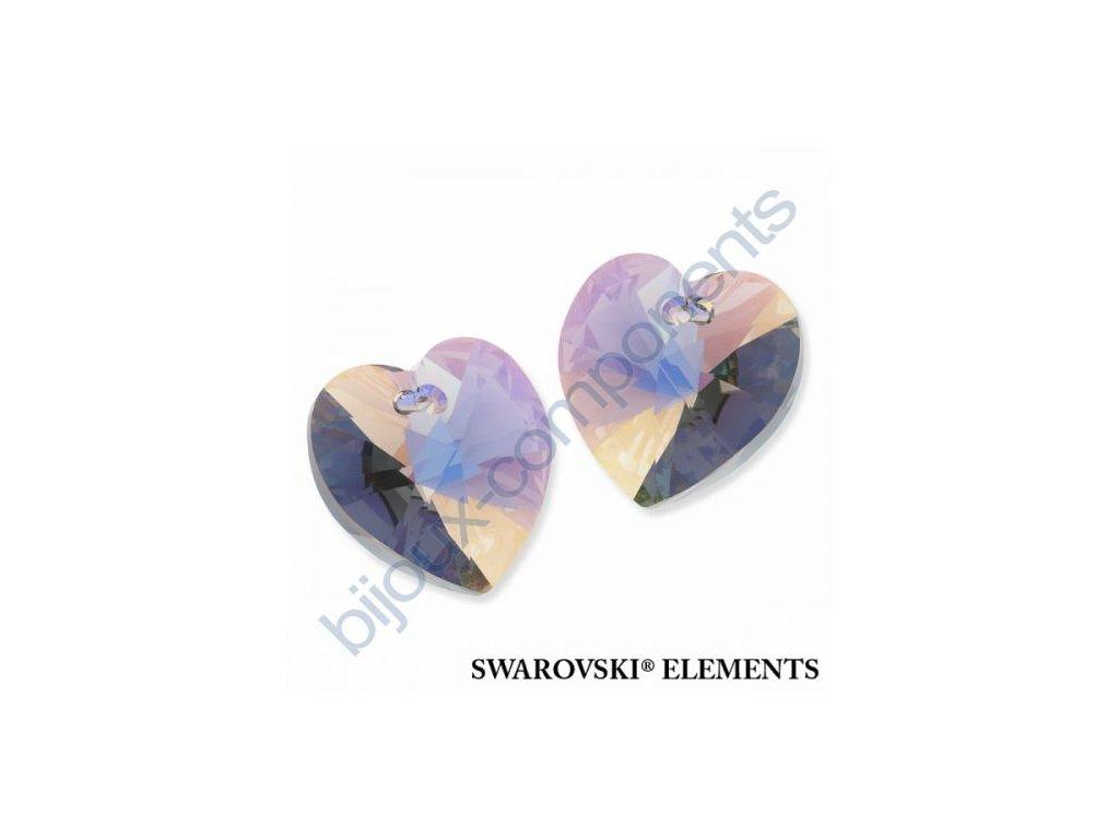 SWAROVSKI ELEMENTS přívěsek - XILION srdce, black diamond AB, 18x17,5mm