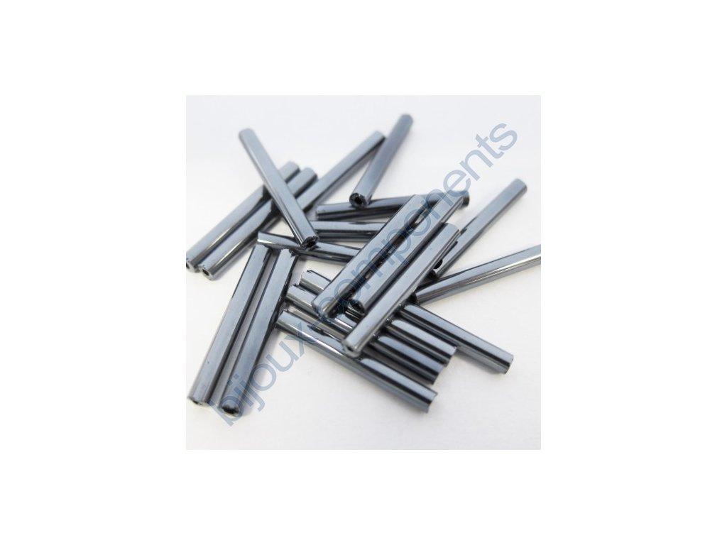 PRECIOSA Skleněné tyčinky hladké - hematit, cca 20mm
