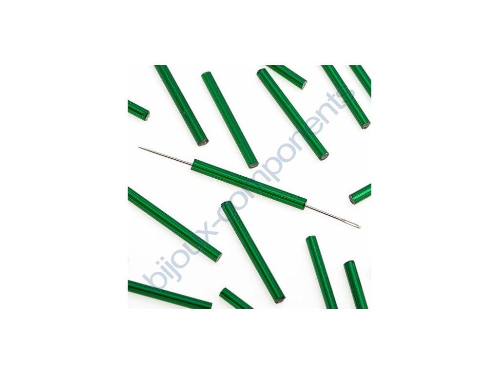 Skleněné tyčinky hladké - zelené, cca 25mm