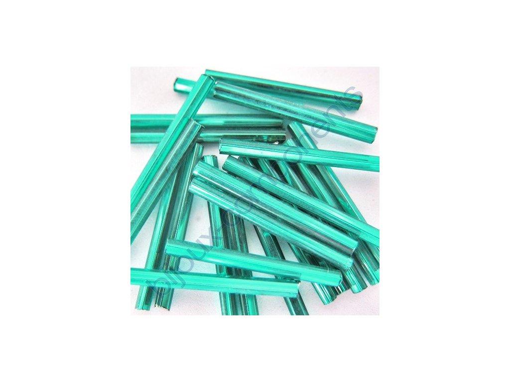 Skleněné tyčinky hladké - zeleno-modré/stříbrný průtah, cca 25mm