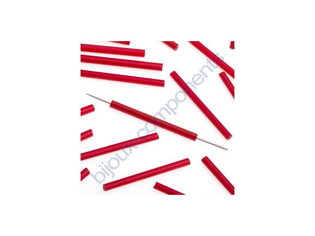 PRECIOSA Skleněné tyčinky, hladké - červené, cca 30mm