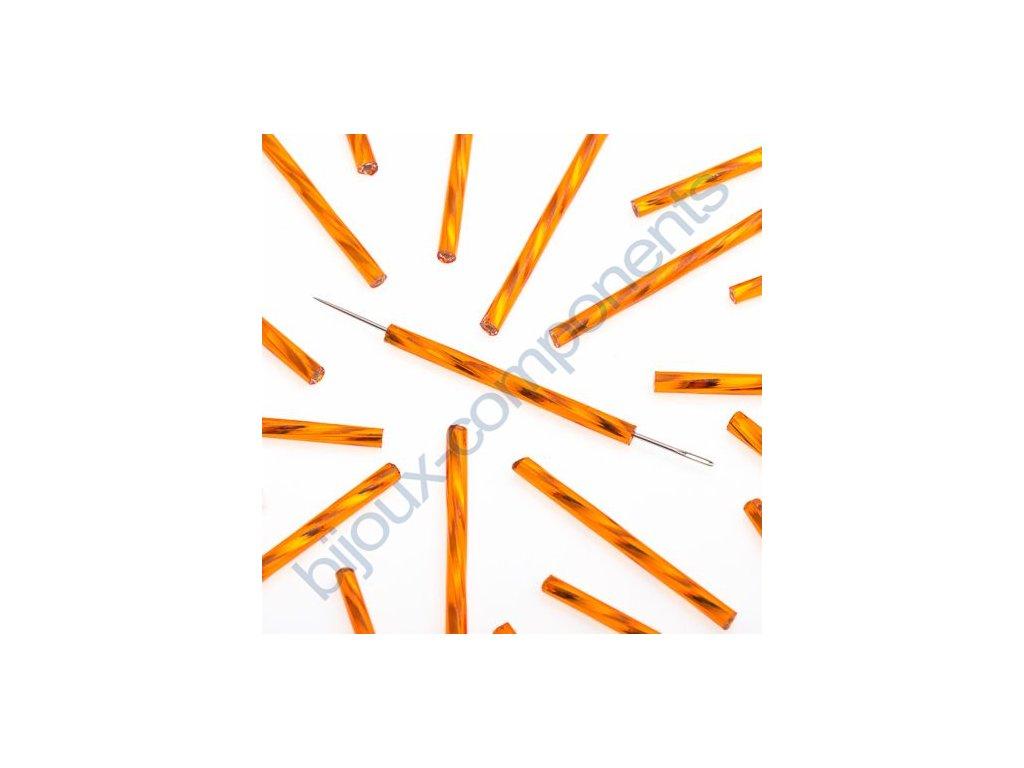 PRECIOSA Skleněné tyčinky, kroucený průtah - oranžové, cca 30mm