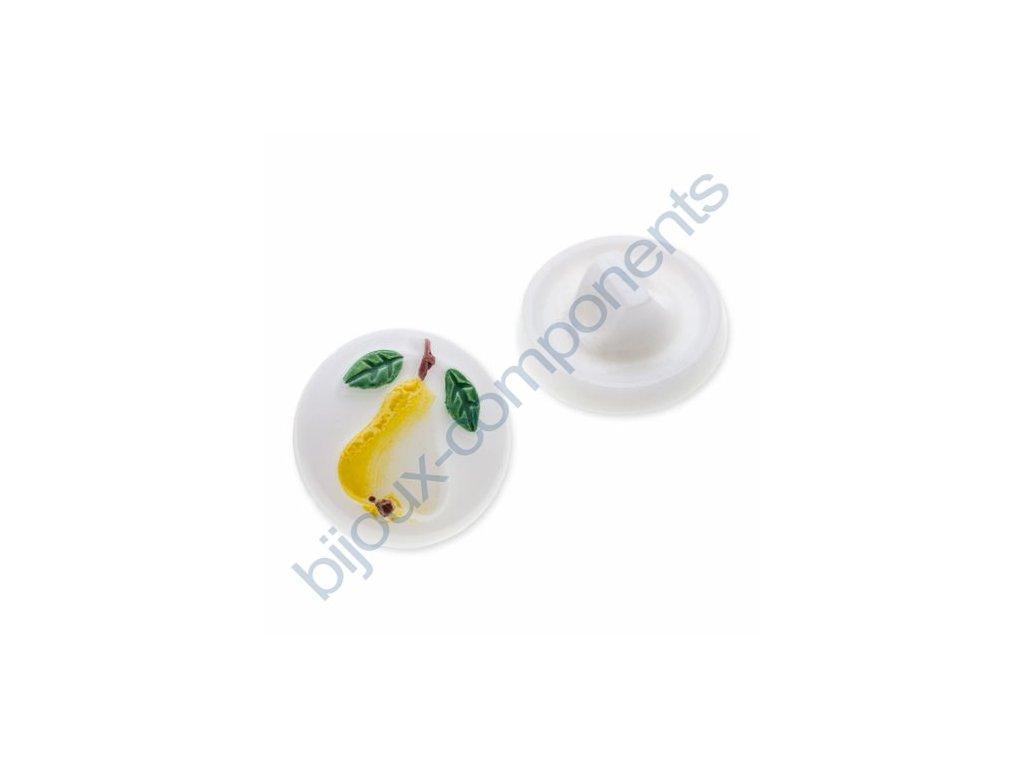 Skleněný knoflík s motivem hrušky, bílý, žlutý dekor