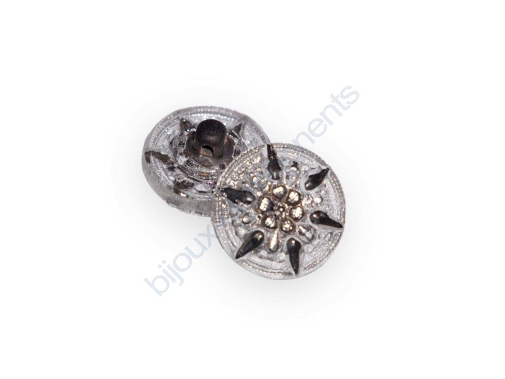 Skleněný knoflík s motivem hrušky, bílý, zelený dekor