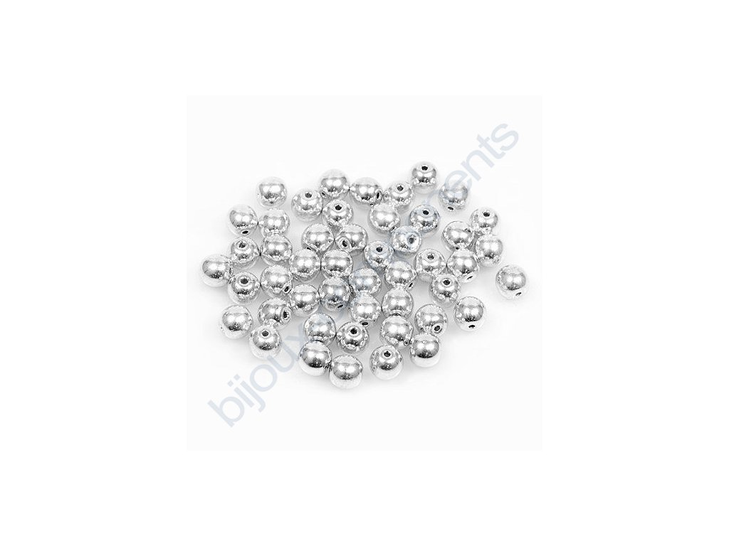 Skleněné korálky - kuličky - stříbrné/barvené