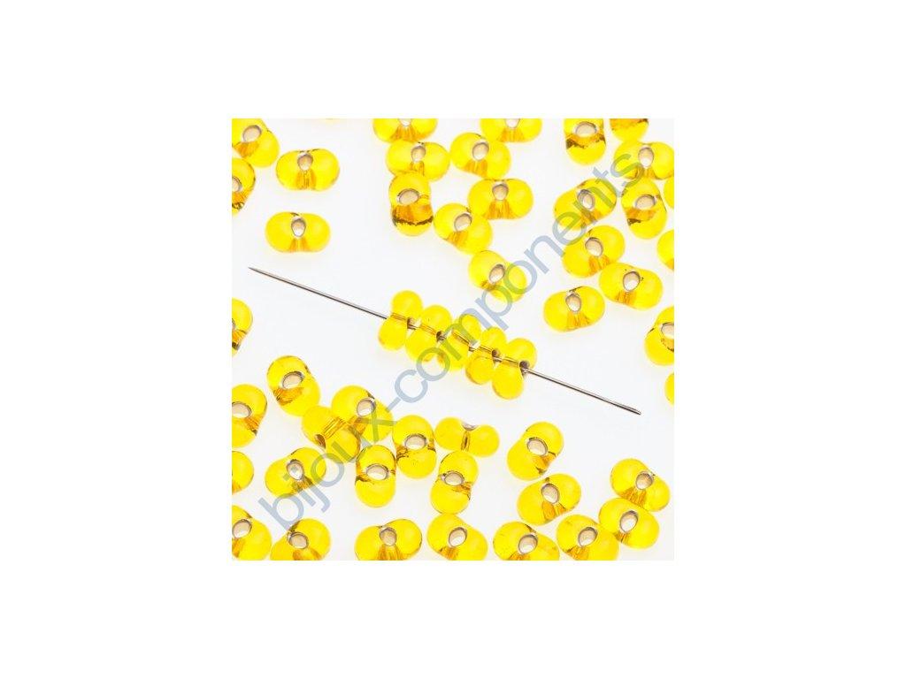 PRECIOSA Farfalle™ - žluté/stříbrný průtah, cca 3,2x6,5mm