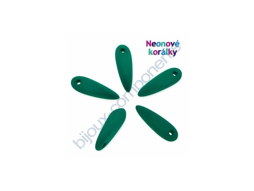 Neonové korálky s UV efektem, jazýčky, tmavě zelené