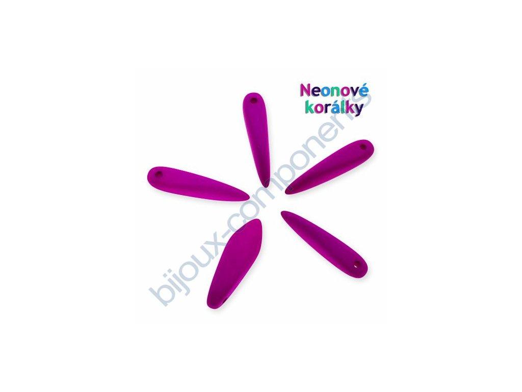 Neonové korálky s UV efektem, jazýčky, fialová