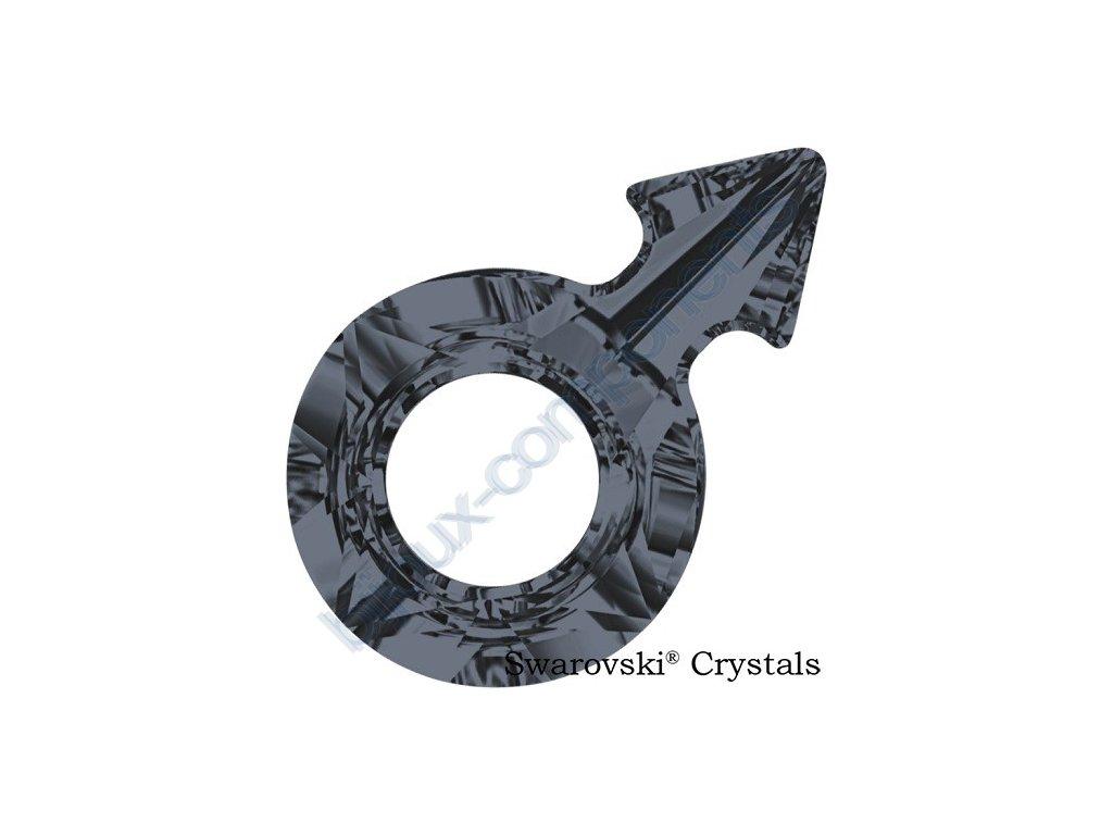 SWAROVSKI CRYSTALS přívěsek - symbol muže, crystal silver night, 18x11,5mm