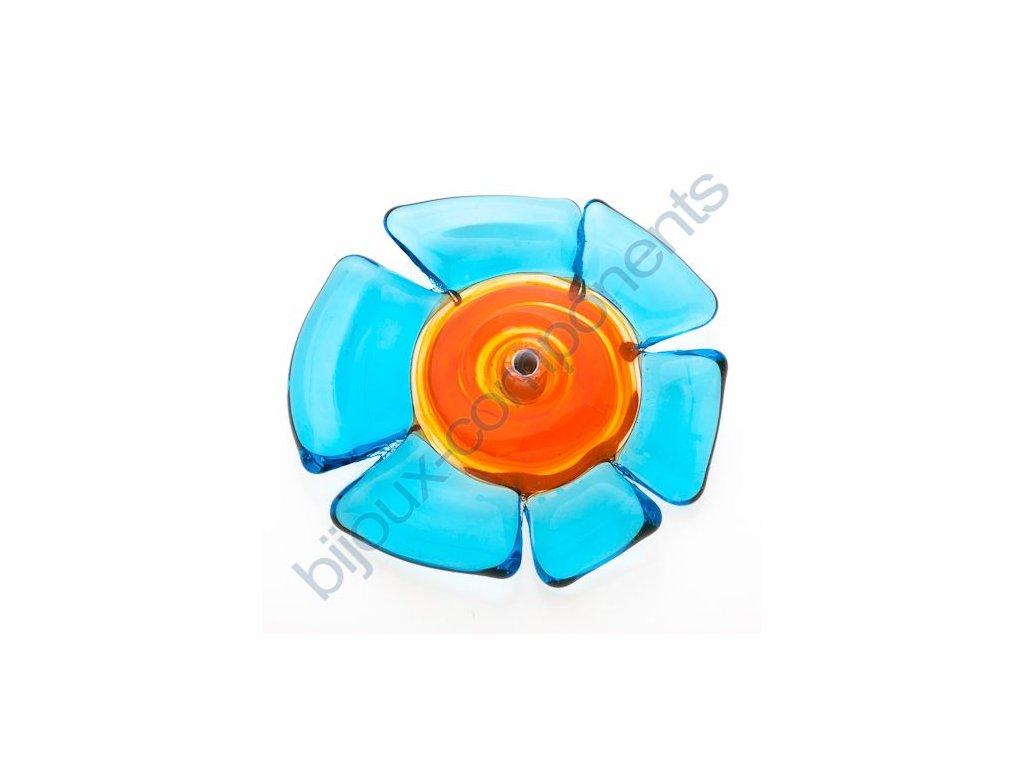 lampové korálky - ručně vinuté, květina, oranžová-modrá