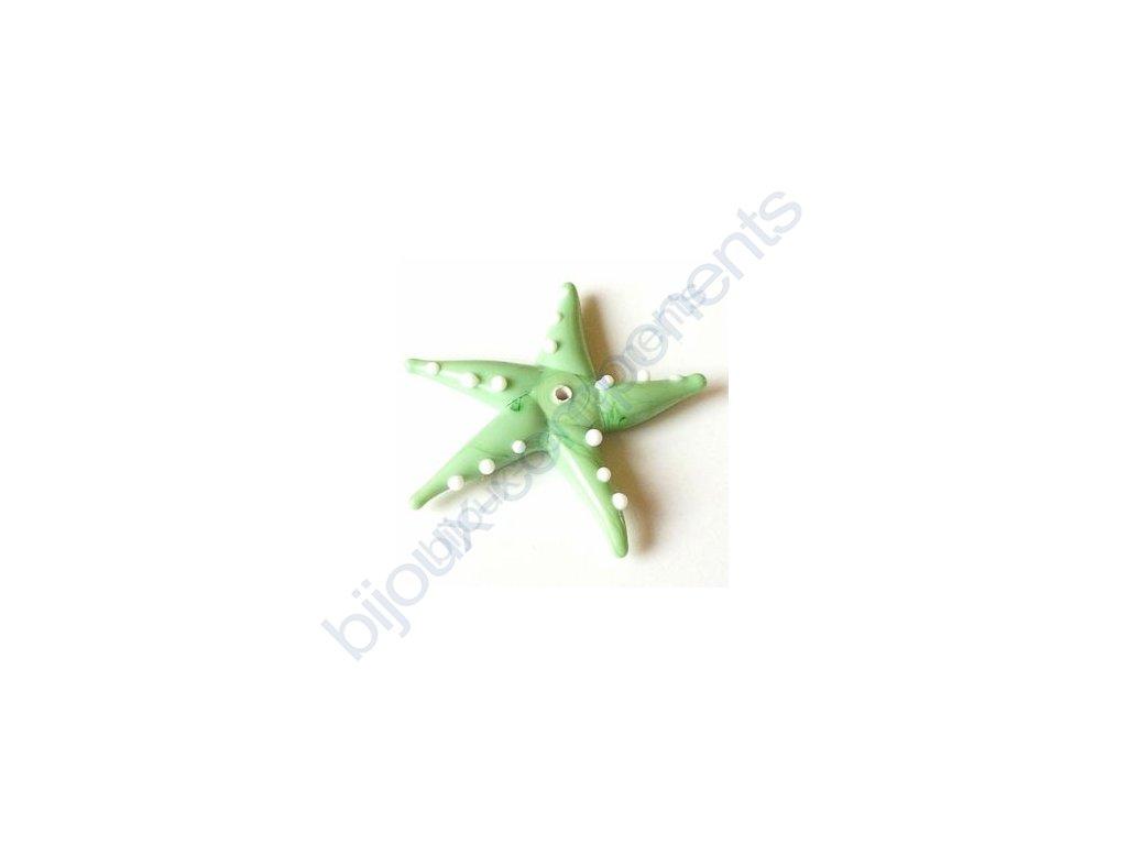 lampové korálky - ručně vinuté, mořská hvězda, světle zelená