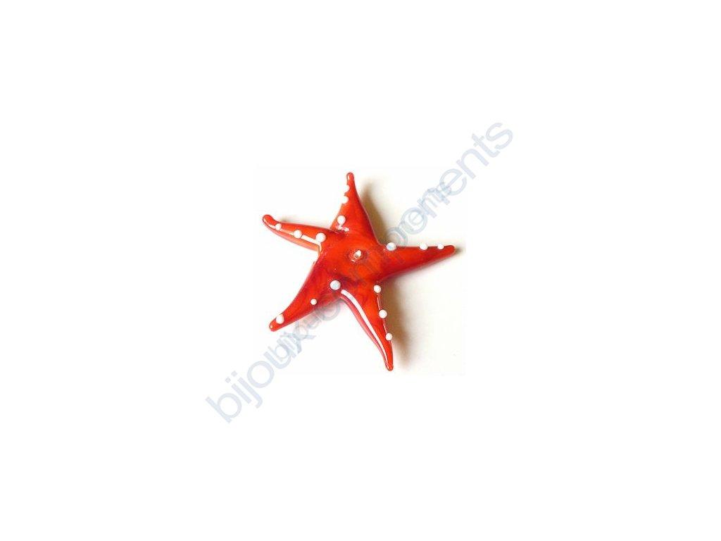 lampové korálky - ručně vinuté, mořská hvězda, červená