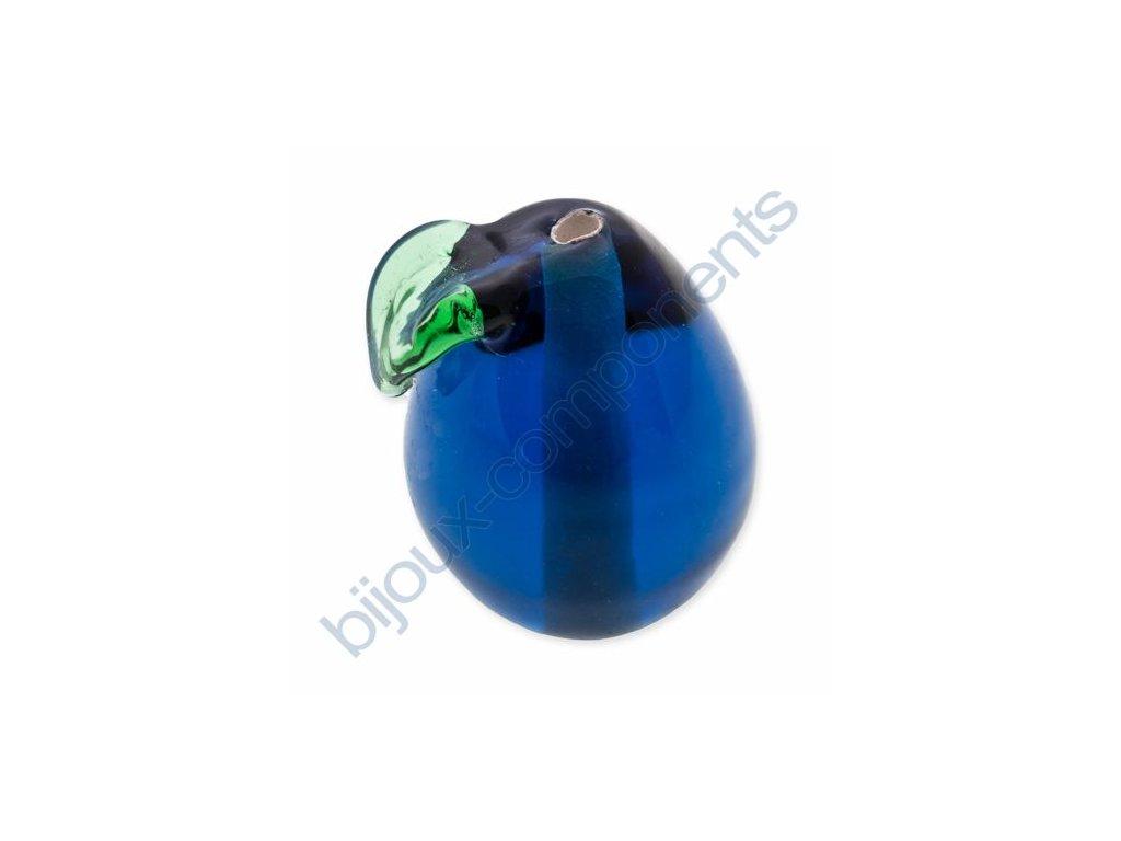 lampové korálky - ručně vinuté, švestka - tmavě modrá