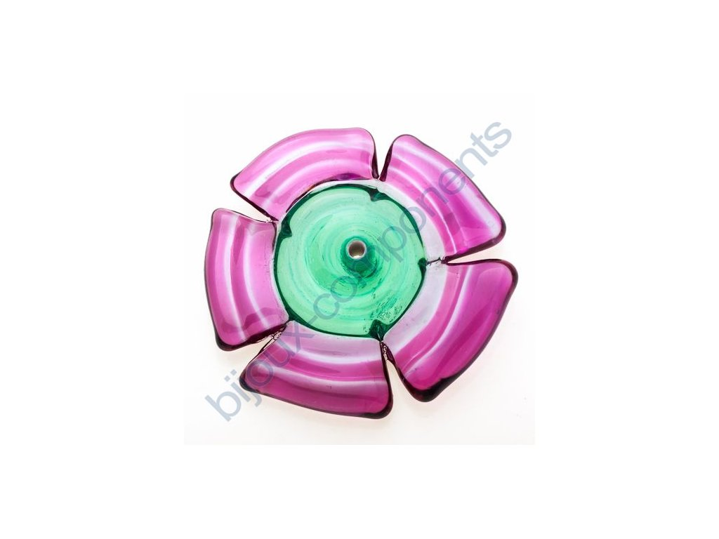 lampové korálky - ručně vinuté, květina,růžovo zelená