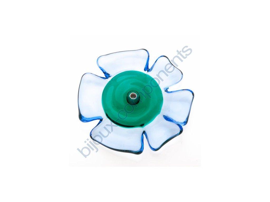 lampové korálky - ručně vinuté, květina, modro zelená