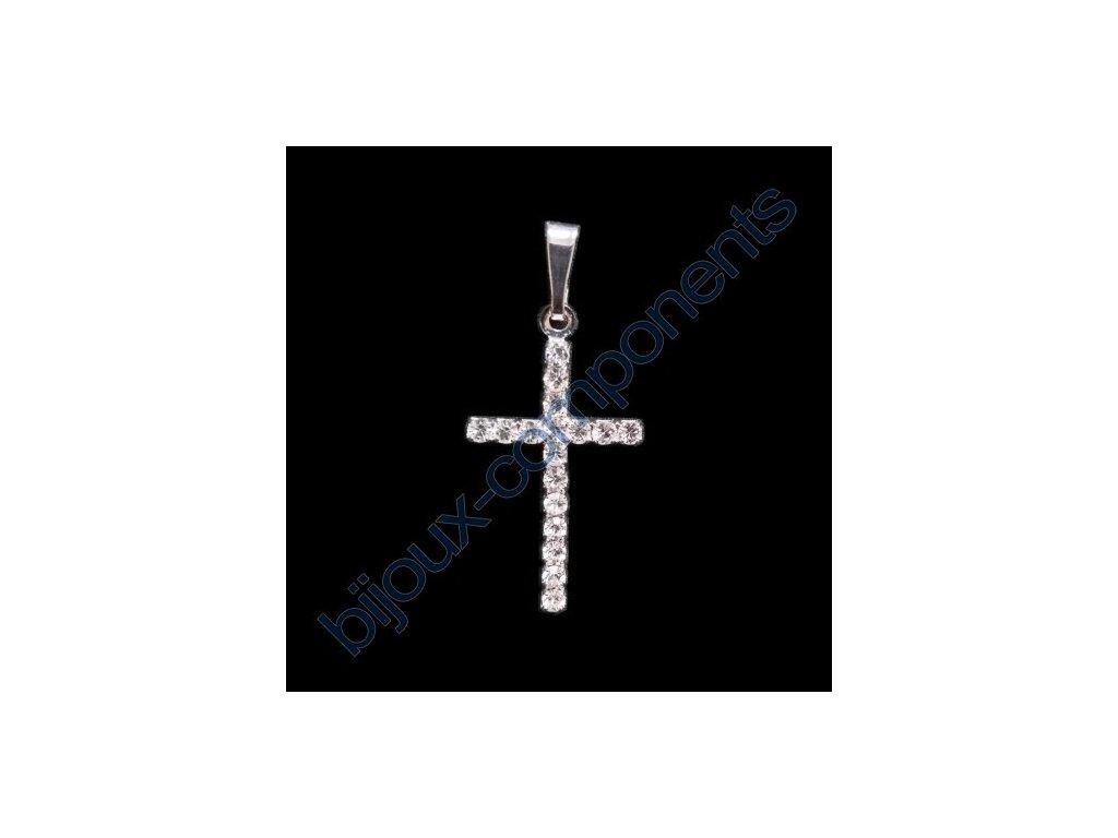 Kříž štrasový, cca 27x16mm