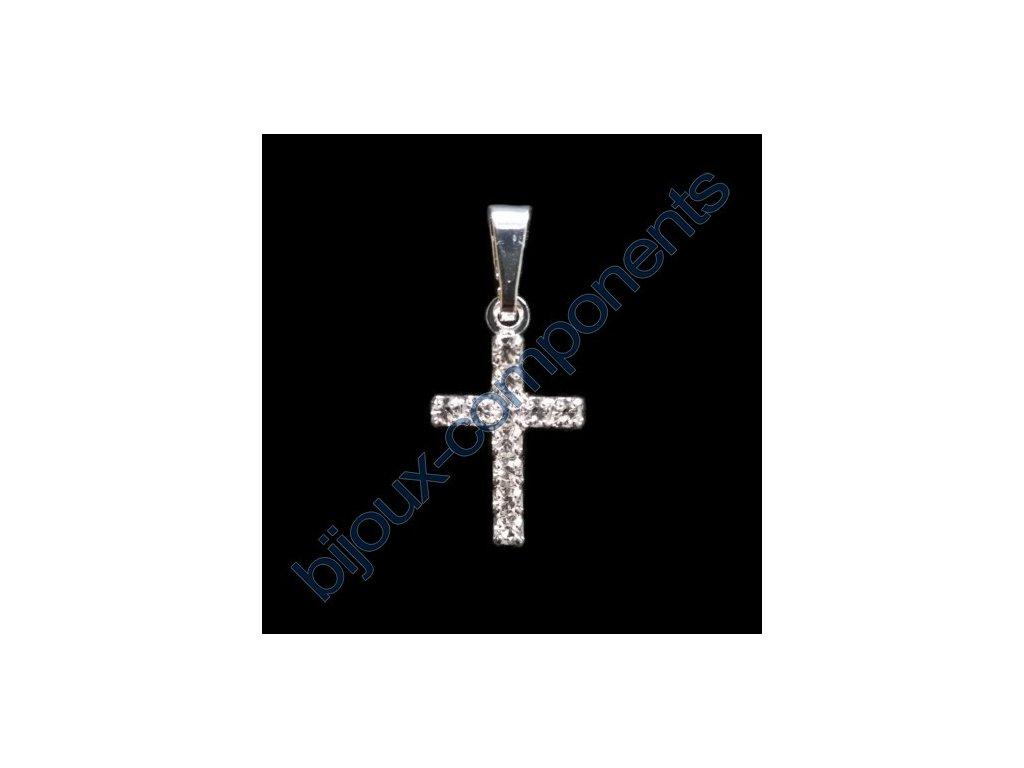 Kříž štrasový, cca 18x11mm