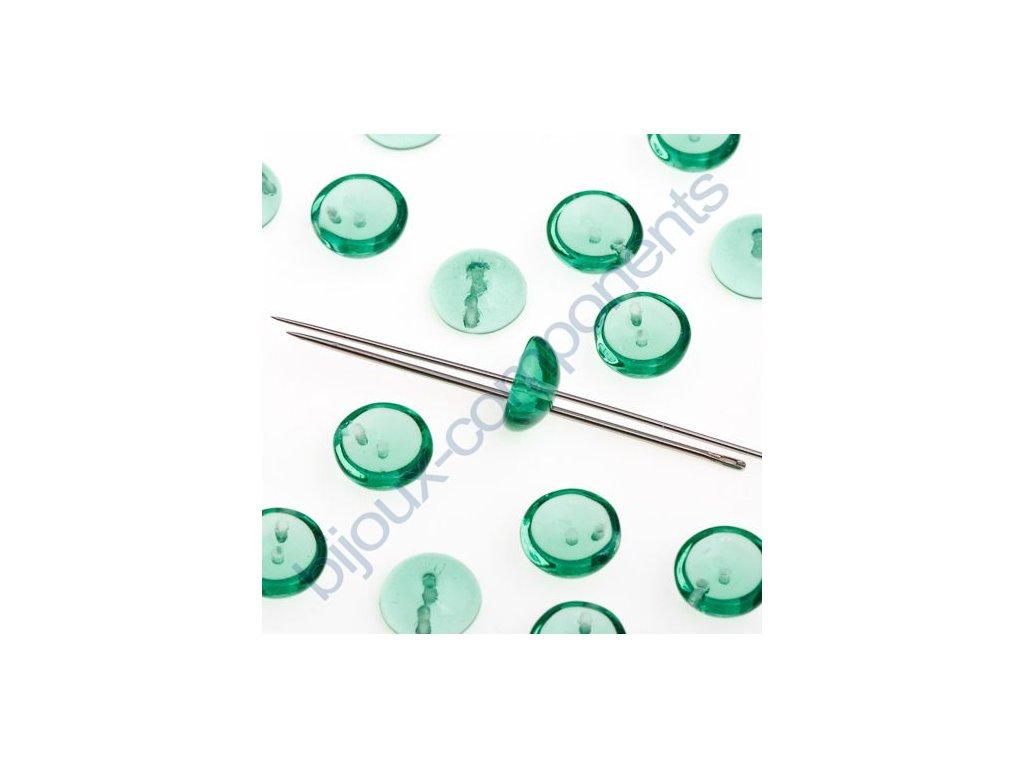 Piggy beads - české skleněné mačkané korálky - transparentní zelené