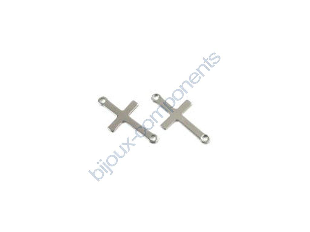 Ozdobný díl - křížek se dvěma spojovacími očky, cca 23x12mm